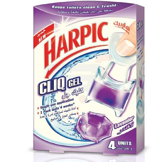 Harpic 4 Units Lavender Fragrance Cliq Gel Toilet Cleaner