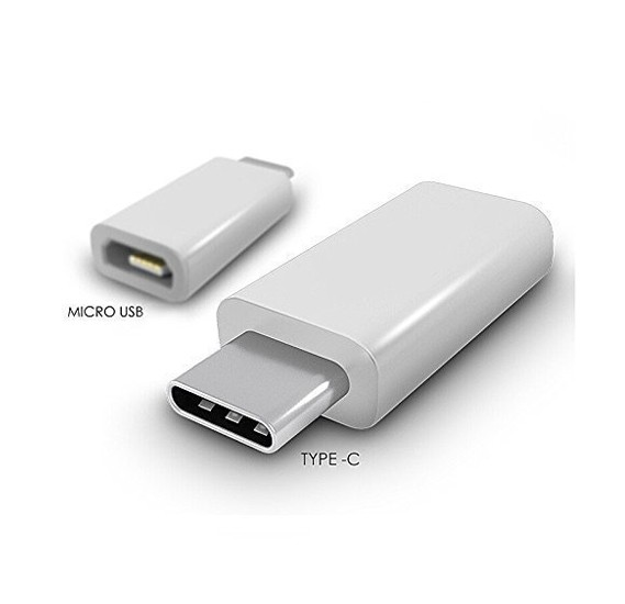 Apple USB 3.1 Type C Male to Micro USB Female Converter Connector Adapter (White)
