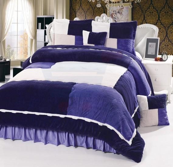 Senoures Velour Comforter 6Pcs Set King - SPV-003 Purple