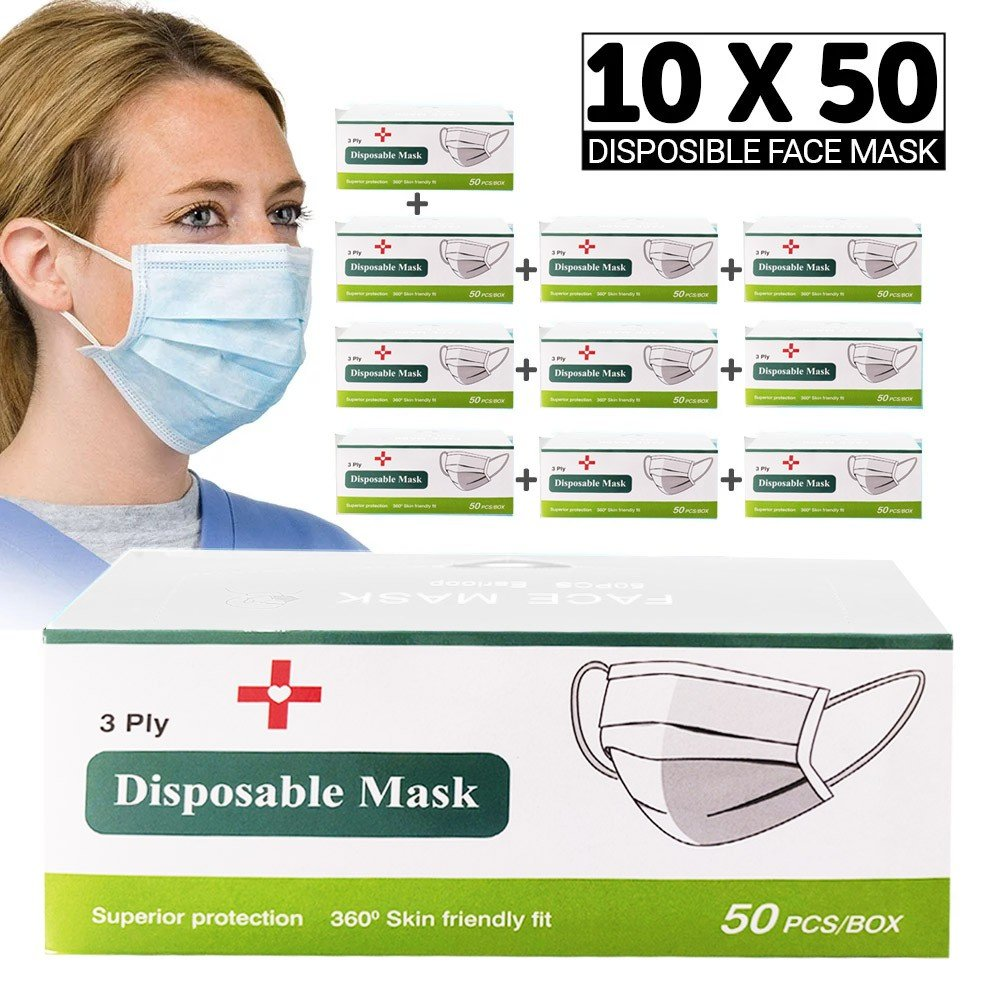 10 Box Disposable Face Mask Pack, 10 x 50 Pieces