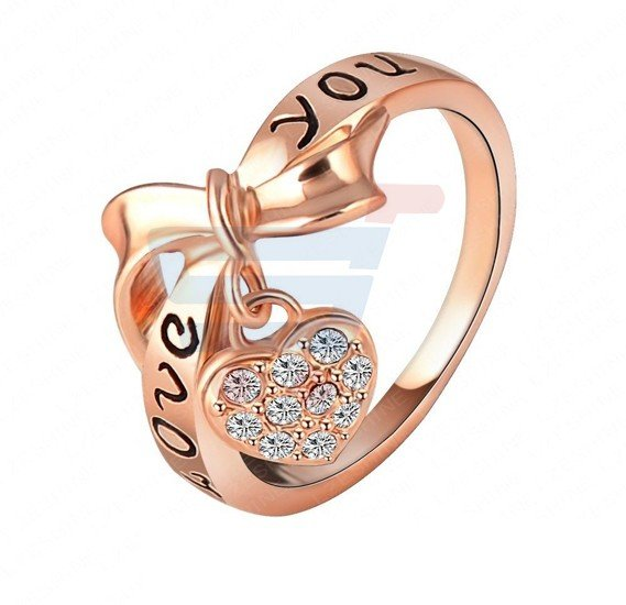 18K Rose Gold Love You Ring Heart Bow
