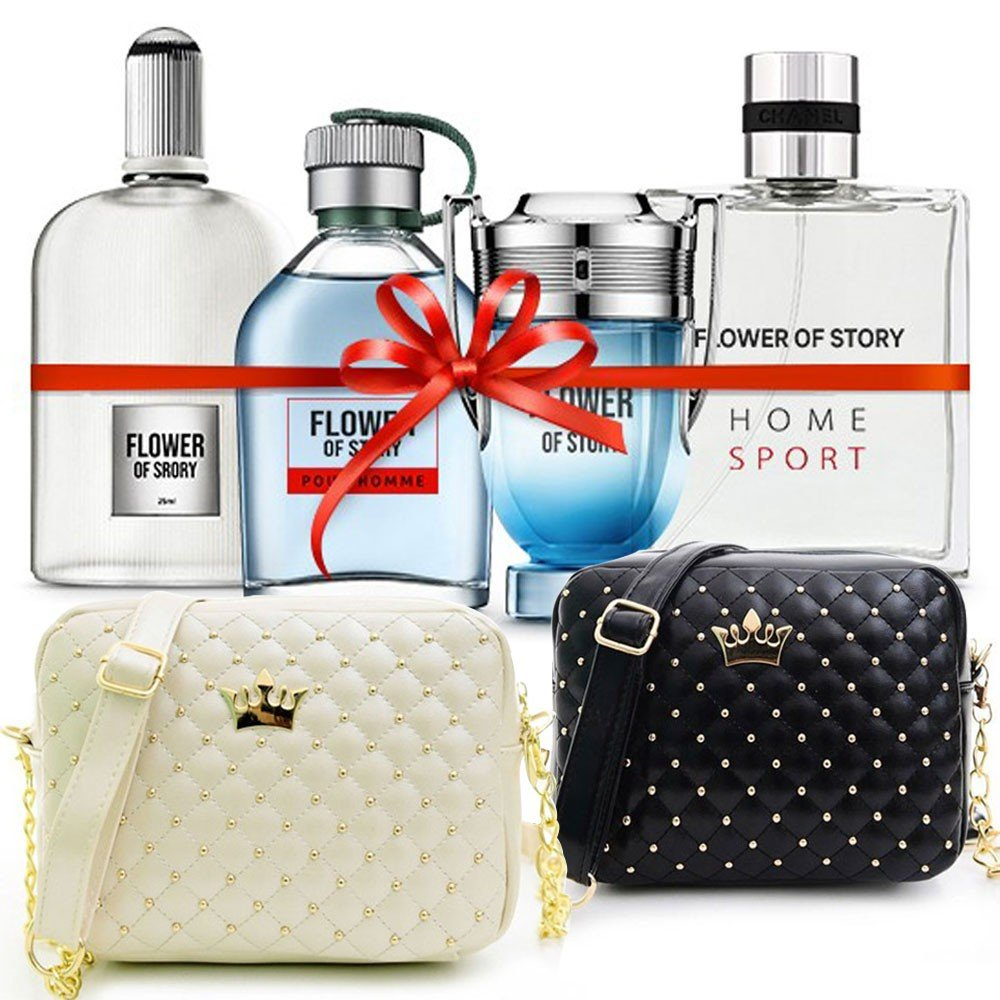 6 in 1 Bundle Pack Flower of Story Perfume gift set, 25ml x 4 Piece, Women Crown Messenger Bag -Black and Women Crown Messenger Bag -White