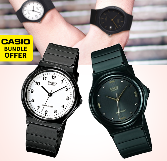 2 in 1 Bundle Casio Analog MQ-24-7BLDF Mens Watch, Black with Casio Analog MQ-76-1ALDF Rubber Strap Unisex Watch, Black
