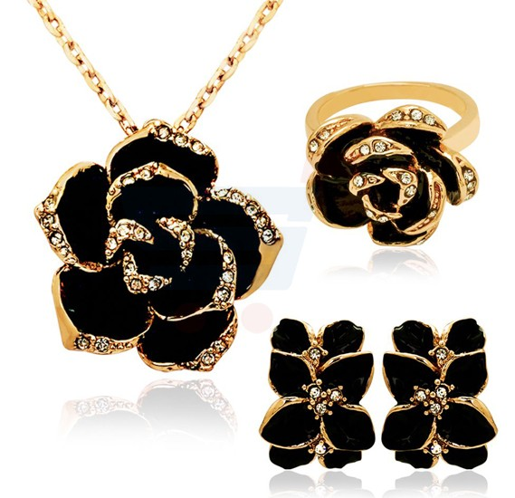 18K Gold Plated Black Rose Jewelry Set - MM103