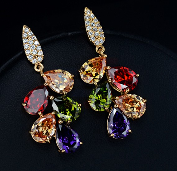 Tiara Elements Limited Edition 18K Rose Gold Plated Earrings With Multi Color Crystal - UE0009