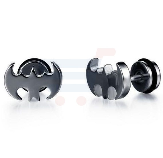 Fashionable Batman Design Stainless Steel Stud Earring for Men, PK-322BK