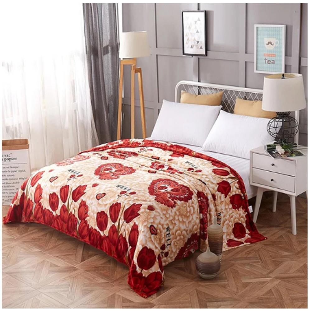 Soft Fleece Blanket Double Size, Pink Flamingo Design.