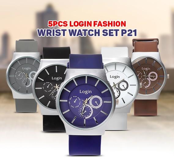 5 in 1 Login Fashion Wrist watch Set P21, Royalhand