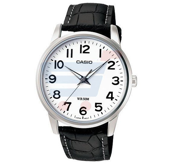 Casio Analog Watch For Men, Standard Black Leather Strap With White Dial-MTP-1303L-7B