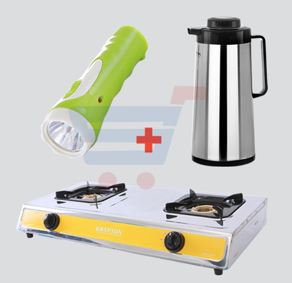 3 IN 1 Bundle Krypton Vacuum Flask KNVF6007, Krypton Double Gas Burner KNGC6003, Krypton Plastic Torch KNFL5011