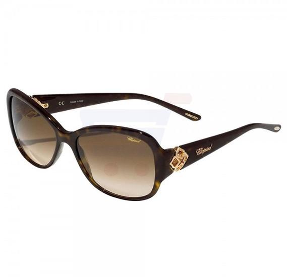 Chopard Oval Havana Frame & Brown Sunglass Mirrored For Women - SCH131S-0722
