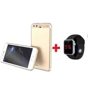 Bundle Offer Enes G14 Smart Phone 8GB Storage, 1GB RAM, Dual Sim, Android, Gold Get free Zooni Multi Color LED Touch Resin Band Watch