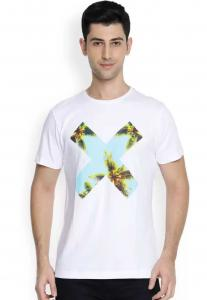 Denvlot Printed Men Round Neck White T-Shirt
