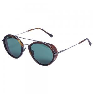Tods TO0220 Pilot Havana & Silver Sunglasses for Men, Size 52