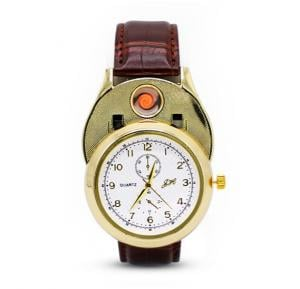 Jiaheng/Zhuoheng Resin Watch For Men With Cigarette Lighter & USB Charge - JH813 Brown White Gold