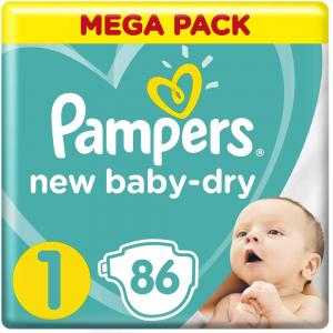 Pampers New Baby-Dry Diapers, Size 1, Newborn, 2-5kg, Mega Pack, 86 Count, 30262
