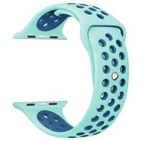 Silicone Strap Wristband For Nike Apple Watch 38MM Band - Blue Dark Blue
