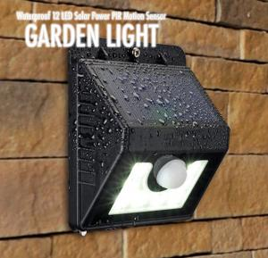 Waterproof 12 LED Solar Light, Solar Power PIR Motion Sensor LED Garden Light Outdoor Pathway Sense Solar Lamp Wall light