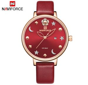 Naviforce NF5009 Moon Star Design Casual Style Women Wrist Watch Waterproof - Red