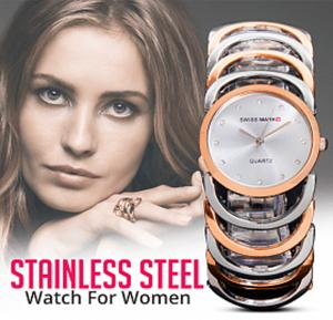 Swiss Mark Link Design Stainless Steel Analog Watch For Women, Rose Gold & Silver, SMWK201