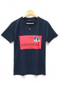 Address Printed T-Shirt Blue