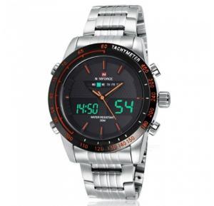 Naviforce Analog/Digital Watch For Men, Silver Metal Band - NF9024