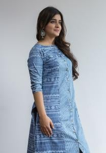 Ruky Fareen Denim Women Long Top Kurti Full Sleeve - RF 224 - M