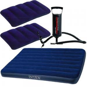 Intex Classic Downy Inflatable Queen Airbed Royal Blue 68758 With 2 Pillows And Air Pump