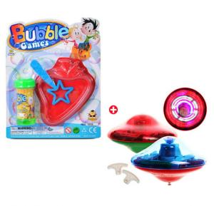 Combo Offer Bubble Game And Gyro Laser Top, With Led Light Music Song