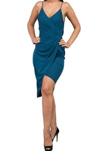 WAL G Italy Spaghetti Strap Draped Casual Dress Teal - WG 9184 - XL