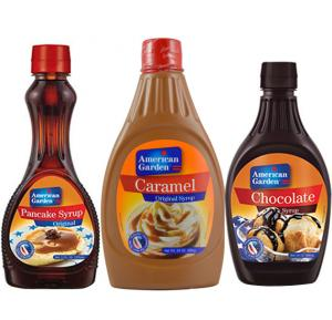 3 in 1 Syrup Combo , American Garden Chocolate Syrup 24 Oz With American Garden Pancake Syrup 24 Oz And American Garden Caramel Syrup 680gms