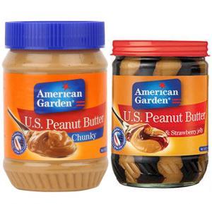 2 in 1 peanut Butter Combo , American Garden Peanut Butter & Strawberry Jelly 18 Oz With American Garden Chunky Peanut Butter 28 Oz