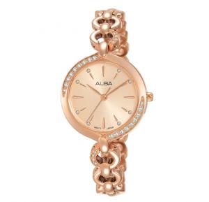 Alba Light pink gold dial and Stainless steel solid bracelet Analog Watch For Women AH8644X1