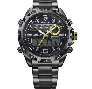 Weide Sport Dual Time Date Digital Analog Military Men Watch - Black Yellow WH3403