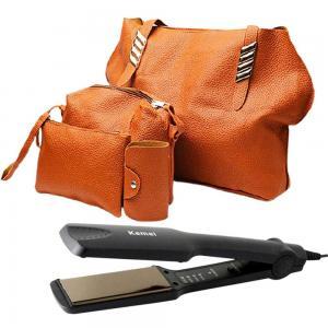 2 In 1 Jin huie 4in one sett bag FL1 Brown And Walmeck Kemei KM-329 Professional Hair Straightener, Black