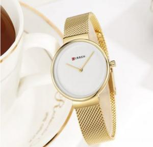 Curren Quartz Wristwatches For Women, 9016, Gold White