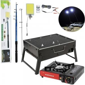 3 In 1 Camping Bundle Portable BBQ Charcoal Grill Multifunctional Outdoor LED Light 500W And Portable Gas Stove