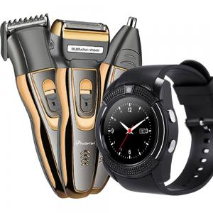 2 in1 Mens Combo, Bison Black Smart Watch With Camera and 3 in1 Progemei Waterproof Hair Trimmer