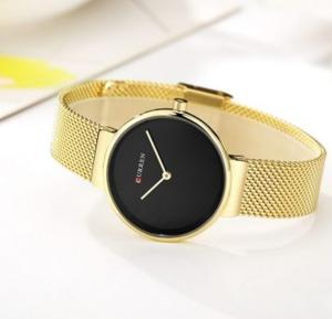 Curren Quartz Wristwatches For Women, 9016, Gold Black
