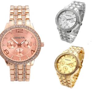 Set of 3 Pieces Geneva fashion Rhinestone Watch for Women - Silver, Gold, Rose Gold