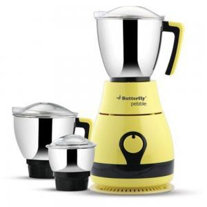 Butterfly Pebble 600-Watt Mixer Grinder with 3 Jars Yellow