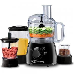Black and Decker KR43-B5 400W 29 Functions Food Processor with Blender, Chopper and Grinder, Black