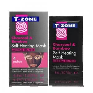 T-zone Charcoal And Bamboo Self Heating Mask 4 Sachets, TZN0011517