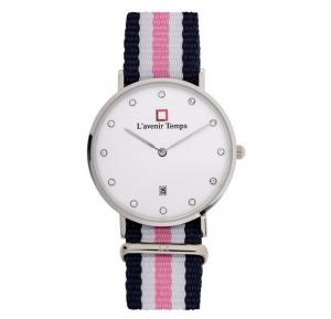 Lavenir Temps Analog Diamond Silver with Pink Nato Strap Watch For Woman - W-LT00583YBR-1