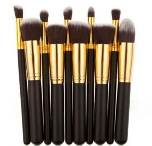 10 pcs cosmetic makeup beauty brushes tool set kit brush with leather case poush -black gold