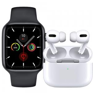 2 In 1 TWS Airpod Pro 3 Bluetooth Earphones Wireless Headset, White And W26 Plus Smartwatch Full Screen Assorted Colour