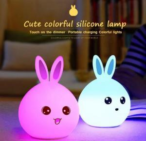 Cute Rabbit Colourful Silicone LED Night light Sleep Lamp with Touch Sensor Lights and 7 mode changing Colours