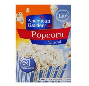 American Garden Microwave Popcorn Butter Fat Free 2.9oz X 3`S