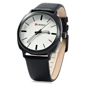 Curren Casual Black Leather Strap With White Round Watch For Men, M 8212