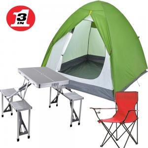 3 In 1 Outdoor Multifunctional Picnic Table,Camping Tent for 3 Person,Camping Chair